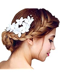 YAZILIND elegante tocado de pelo de novia Pins blanco flores de cuentas de pelo de la boda accesorios de fiesta para las mujeres y las ninas