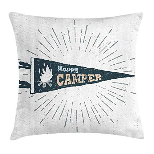 KLYDH Texas Throw Pillow Cushion Cover, Texas Vintage Western Cowboy Style Sunburst and Star with Grunge Effects, Decorative Square Accent Pillow Case, 18 X 18 Inches, Navy Blue Red Cream Sunburst Ski