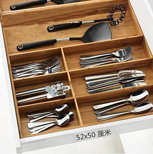 YYDDZ Organischen Bambus Schubladen-Organizer-Set,Küche Schubladenteiler Utensilien-Halter Besteckfach Für Badezimmer,Besteck besteck,Tool-Box-B 52x50x6cm(20x20x2) -
