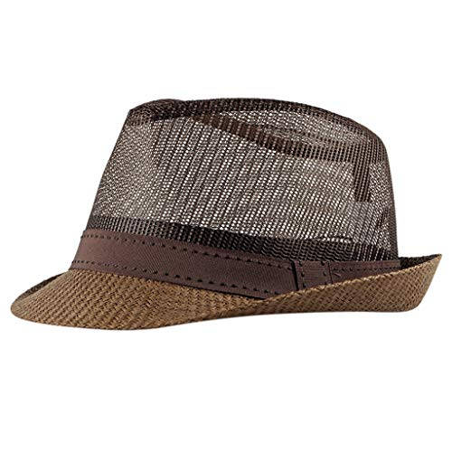 Masrin Unisex Sommer Cool Elegant Trilby Hut Stylish Hollow Beach Hut Sonnenhut Strand Sun Cap (Coffee) -