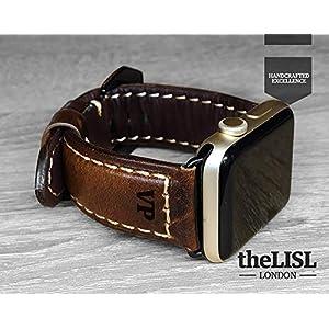 Apple Watch Strap Hand Stitch Vintage echtes Leder iwatch Band 38 40 42 44mm Gurt Herren Freund Mann Geschenk Serie 4 3 2 1 personalisierte graviert Weihnachtsgeschenk Luxus Premium Dark Brown