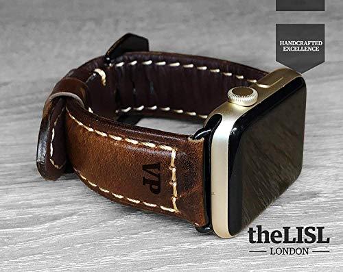 Apple Watch Strap Hand Stitch Vintage echtes Leder iwatch Band 38 40 42 44mm Gurt Herren Freund Mann Geschenk Serie 4 3 2 1 personalisierte graviert Weihnachtsgeschenk Luxus Premium Dark Brown - Echte Serie