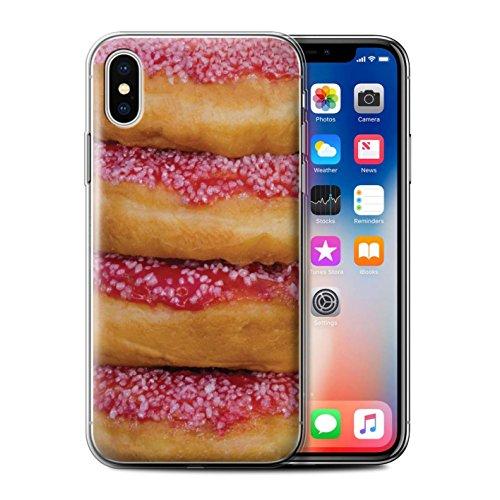 Stuff4 Gel TPU Hülle / Case für Apple iPhone X/10 / Schokolade Muster / Schmackhafte Donuts Kollektion Tower/Erdbeere