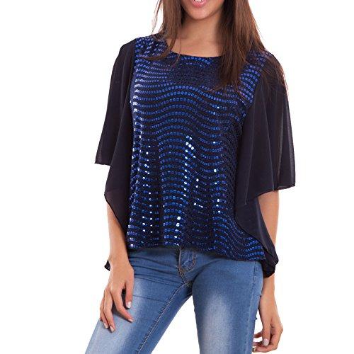 Toocool - Maglia donna maglietta lustrini velata maniche corte ruches party nuova CJ-2376 Blu