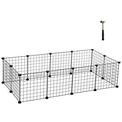 SONGMICS Enclos modulable pour Petits Animaux, Cage intérieur, Maillet en Caoutchouc Offert, Cochon d'Inde, Lapin, Assemblage Facile, 143 x 73 x 36 cm (L x l x H), Noir LPI01H