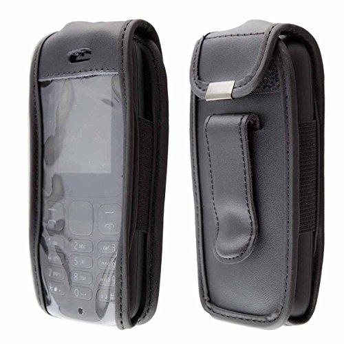 caseroxx clip da cintura custodia per Nokia 105 (2017) cover in vera pelle, copertura con finestrina protettiva e clip