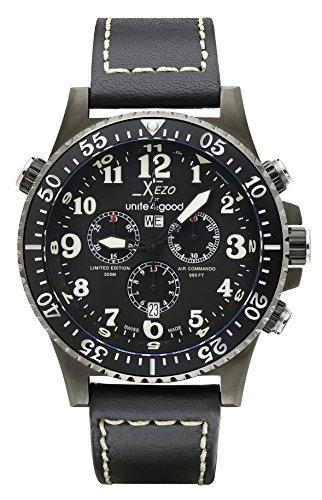 Xezo Uhr Chronograph mit Leder Armband AIR Commando D45-LB