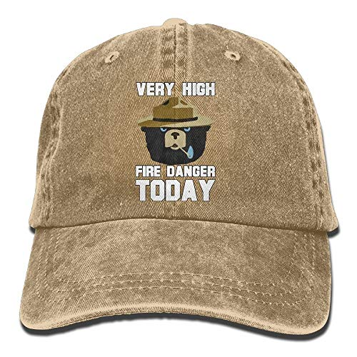 aseball Hat Cap Cotton Adjustable Hats Unisex Smokey Bear 'Fire Danger Very High Today' Polo Style ()