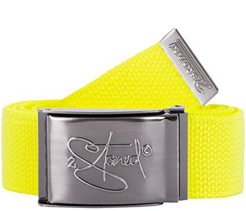 2Stoned Tresor-Gürtel Geldgürtel Neon-Gelb 4 cm breit, matte Schnalle Geprägt, Gürtel für Damen - Cotton Web Belt