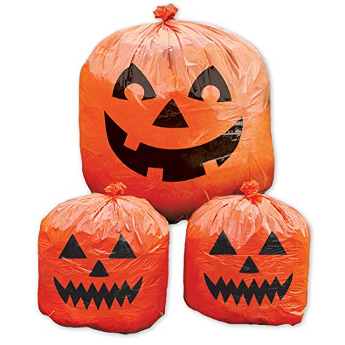 Amakando 3 Halloween Kunststoff-Beutel mit Kürbis-Motiv / 2 x klein mit 76 cm & 1 x groß mit 120 cm in orange-schwarz / Laubsäcke Kürbis-Fratze / Ideal zu Halloween & Herbstdekoration