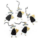 ANGEBOT 5 Stück schwarz goldene Holz-ENGEL Engelanhänger MIT HERZ 8 cm Weihnachtsanhänger mit Schnur - Schutzengel Christbaumschmuck Baumschmuck Weihnachtsdeko Schutzengel Figur zum Aufhängen