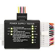 SODIAL(R) 20 / 24-pin Tester Comprobador de Fuente Alimentacion para ATX / SATA / HDD, Negro