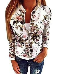 Minetom Femmes Jacket Casual Lâche Veste Motard Blouson Court Zippé a Motifs Imprimé Floral Tops Outwear Coat