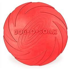 Payxuan Disco Volador para Perro de Goma,Rojo Ø 15cm