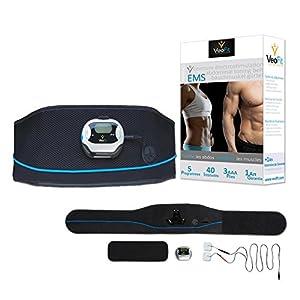 VEOFIT EMSBauchmuskelgürtel zur Elektrischen Muskelstimulation: festigt, stärkt und strafft die Bauchmuskeln und flacht den Bauch ab / passende Einheitsgröße für alle / Männer & Frauen
