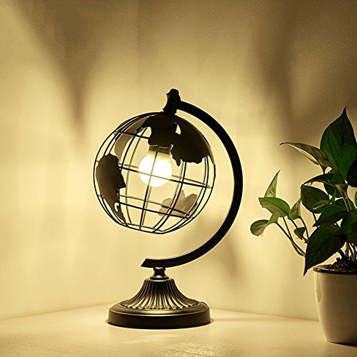 Globus-tischleuchten,Eisen Nachttisch-lampe Tischleuchten für schlafzimmer Dekoration Kunst Nachtlicht Einfache Kreative Wohnzimmer Studie Bett nachttisch-lampe-schwarz (Glühlampe Appliance Lampe)