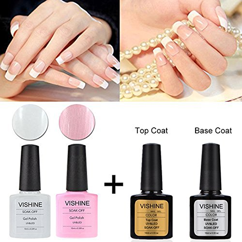 uflösbarer Nagellack 10ml french manicure kit French white and clearly pink& Base Top Coat Set (4 x 10 ml) (French Manicure Nagellack)