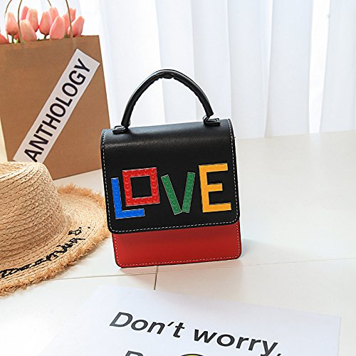 Wowus Ladies Pu Handbag New Pound Package Love Letter Temperamento Moda Spalla Borse Borsa Borsa Nera