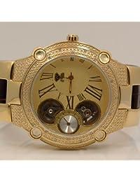 AQUA MASTER W2124 - Reloj para hombres, correa de cuero color marrón