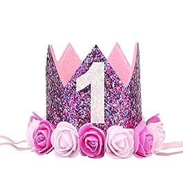BESTOYARD Fasce per Capelli Neonata Tiara Corona con Fiore per Compleanno per 1 Anno di età Neonata