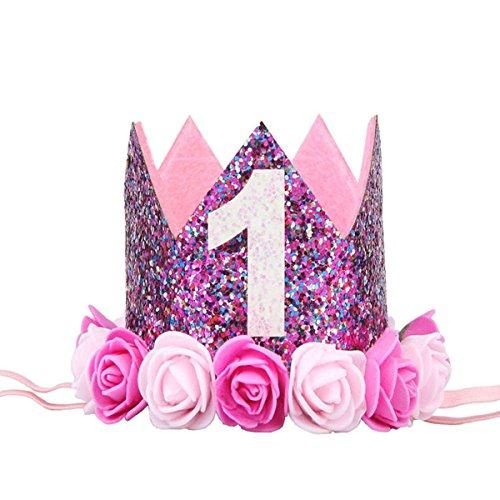 BESTOYARD Princesa Corona Cumpleaños para Bebé de Flor Uno Año Edad Rosado