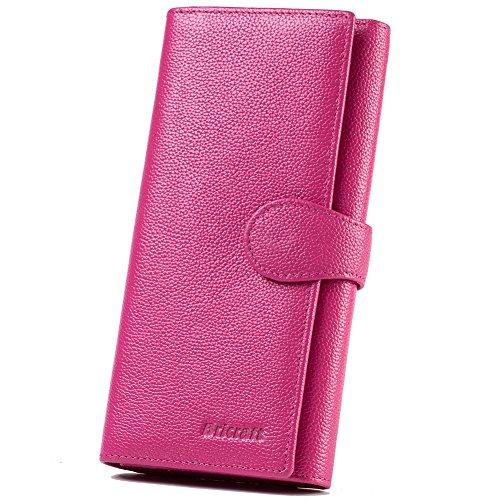 - 51F4m14FIDL - Women RFID Blocking Wallet Trifold Ladies Luxury Leather Clutch Travel Purse Hot Pink