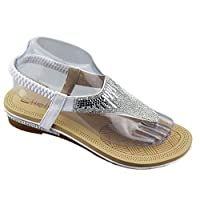 KOLLACHE Womens Flat Sandals Ladies Diamante Summer Wedding Slipper White Size UK 3 EU 36 US 5