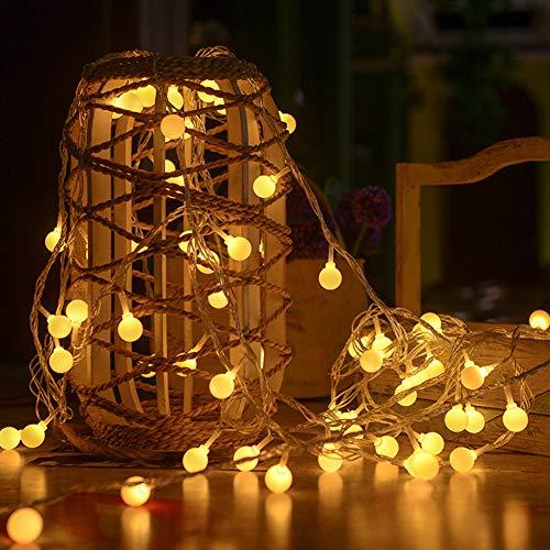 BeIM Lichterkette Batterie Globe 10m 100 LED Innen und Außen Kugel Weihnachtsbeleuchtung mit 8 Modi Wasserdicht Warmweiß Außenlichterkette für Weihnachten Hochzeit Party