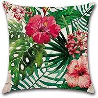 Funda de cojín con diseño de flamencos, hibisco y flores tropicales, para sofá, cama, salón, dormitorio, como decoración del hogar, tamaño cuadrado, de algodón y lino, mide 45 x 45 cm