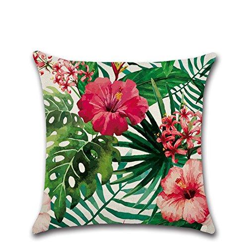 Preisvergleich Produktbild Excelsio Kissenbezug/-hülle mit tropischem Muster, Flamingo/Hibiskus/tropische Blumen, Deko-Kissenbezug für Schlafcouch, Wohnzimmer, Schlafzimmer, Heimdekoration, Baumwolle-Leinen-Kissen, quadratisch, ca. 45 x 45 cm J