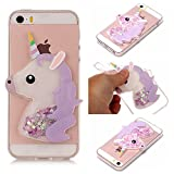 xifanzi Soft 3D Silicone Case for Apple iPhone 4 4S Durable Transparent TPU Bumper Back Cover for iPhone 4G Case Purple Glitter Unicorn Kickstand Design Clear Back Cover Ultra Slim Fit Protective Shell for Apple iPhone 4 / iPhone 4S