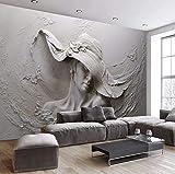 Cczxfcc Benutzerdefinierte Mural 3D Stereoskopischen Geprägte Graue Schönheit Ölgemälde Moderne Abstrakte Kunst Wandbild Wohnzimmer Schlafzimmer Mural-200Cmx140Cm