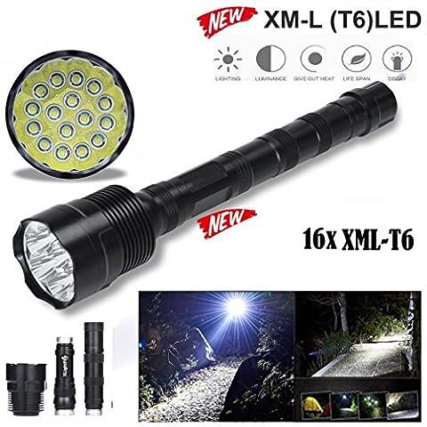 TopTen Fan-Motive Tactical Taschenlampe, 20000Lumen 16x T6Super Hell 5Modi tragbar-Camping Lampe für Angeln Jagd Wandern und Outdoor Aktivitäten