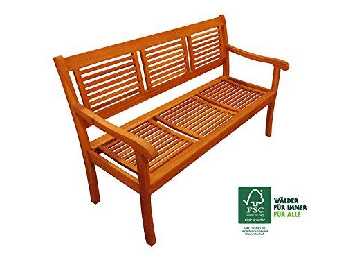 SAM® Garten-Bank Cordoba aus Akazie-Holz, FSC® 100% zertifiziert, 150 cm Breite, 3 Sitzer Holzbank, Balkon-Bank aus Akazien-Holz geölt, Garten-Möbel in braun, Massiv-Holz-Bank für Terrasse