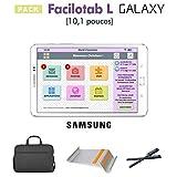 Facilotab Pack L Galaxy 10,1 Pouces WiFi - 32 Go - Android 7 + Support + Sacoche + 2 Stylets (Tablette simplifiée pour Seniors)