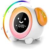 Réveil Enfant,AUELEK Réveil Lumineux avec écran LCD 2400mAh Rechargeable avec 2 Alarmes 3 Modes 6 Sons Naturels 7 Lumières Co