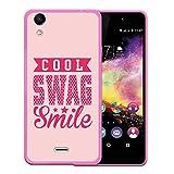 WoowCase Wiko Rainbow Up Hülle, Handyhülle Silikon für [ Wiko Rainbow Up ] Cool Swag Smile Handytasche Handy Cover Case Schutzhülle Flexible TPU - Rosa