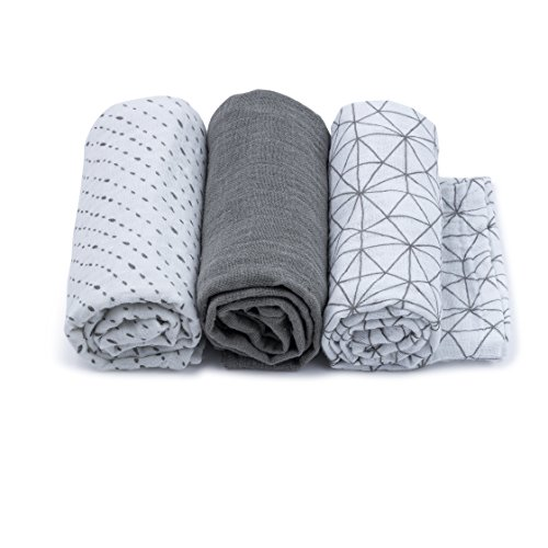 Urban Kanga Langes Doux en Tissu de Mousseline Coton pour Bébé - Pack de 3 – 70 X 70 cm (Gris)