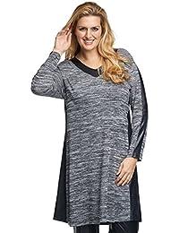 Komfort Tunika Kleid mit Streifen in Lederoptik Melange