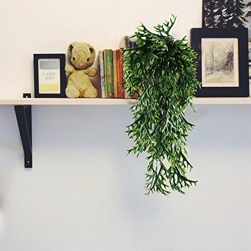 MIHOUNION Plastikpflanzen Hängend 2 Pcs Gefälschte Pflanzen Farn Künstliche Pflanze Hängepflanze für Innen-Außenbereich Balkon Garten Deko