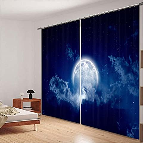 KKLL Curtains Polyester 3D Moon Night view Digital printing Blackout Noise Reducing Window Drapes Bedroom Insulated Panel Curtain , wide 2.64x high 1.6