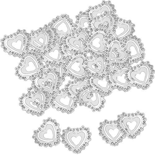 SM SunniMix 30g Mini Konfetti Streudeko Streuartikel Tischdeko mit Ausschnitt Herzförmig - Silber -