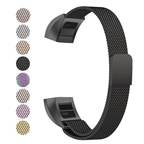 Fitbit Alta HR Armband, BeneStellar Milanese Edelstahl Uhrenarmband Mailänder Magnetschleife Edelstahlband Ersatz Armband Für Fitbit Alta HR und Alta (Schwarz)