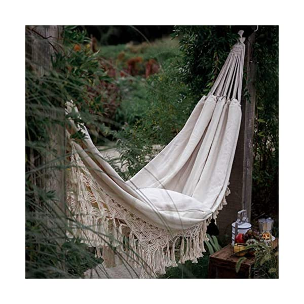 DOITOOL Hammock Boho Tassel Double Hammock Two Person Bed for Backyard Porch Outdoor Indoor DOITOOL Lightweight, easy to carry and use. Perfect for relaxing yourself during outdoor activities, such as camping, traveling, backpacking, etc. Made of high quality material, durable and safe to use. 8