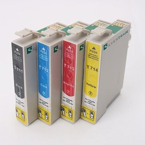 4 x kompatible XL Tintenpatronen mit Chip, kompatibel zu Epson T0711 - Schwarz, T0712 - Cyan, T0713 - Magenta, T0714 -