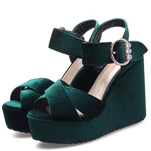 TAOFFEN Damen Elegant Peep-toe Keilabsatz Sandalen Buckle Slingback Shoes DunkelGr¨¹n