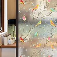 Lifetree Privacy Window Film de Verre dépoli Film de vitrail Film Statique Film Autocollant Non-adhésif Film Bird Window Autocollants pour la Maison Salle de Bain Bureau 90x 200 cm