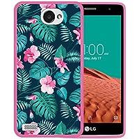 WoowCase Funda LG X150 Bello 2, [LG X150 Bello 2 ] Funda Silicona Gel Flexible Flores Tropicales 2, Carcasa Case TPU Silicona - Rosa