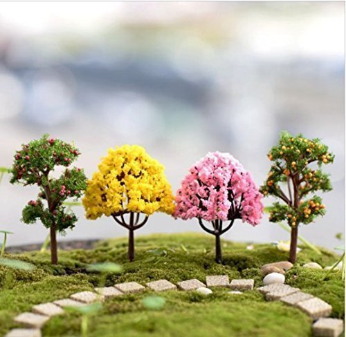 Gnome-dekor Garten (URGrace 8Pcs / Lot Mini künstlicher Baum-Miniaturpflanzen-feenhafter Garten-Verzierung Gnome-Moos-Terrarium-Dekor für Fertigkeit-Bonsais-Flaschen-Garten-Mikrolandschaft-Dekor-Verzierungen DIY Zusätze)