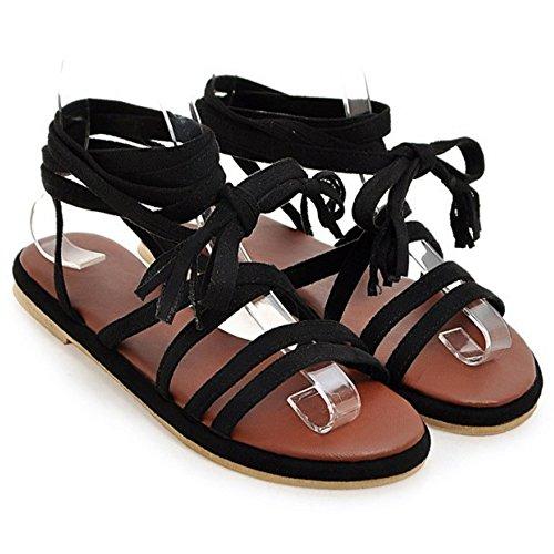 COOLCEPT Femme Rome Lacets Sandales Plat Montant Croise Chaussures Noir
